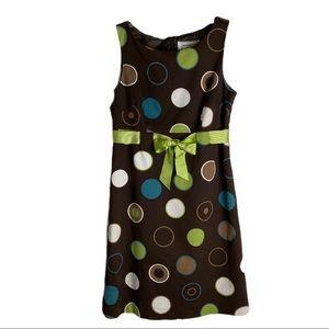WILLOW GLENN  Retro Style Dot Print Belted Dress